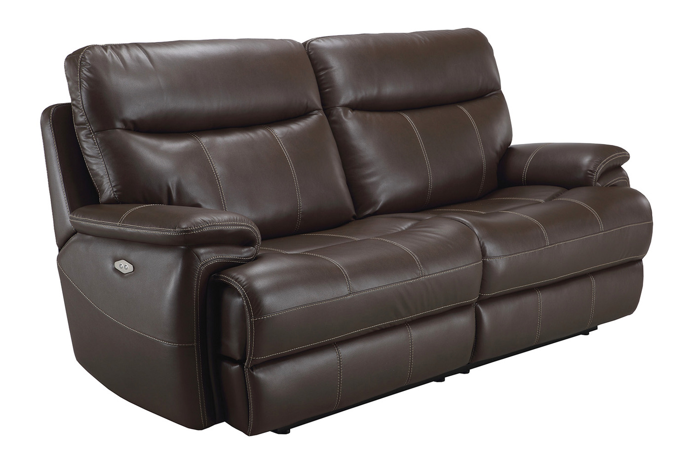 Dylan Mahogany Transitional Power Reclining Sofa With Pillow Top  ~ Leather Sofa Pillow Top Arms