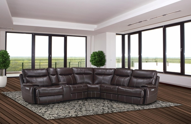 Dylan Power Recline Modular Sectional Sofa w/Reclining Armless Chair in Mahogany Fabric