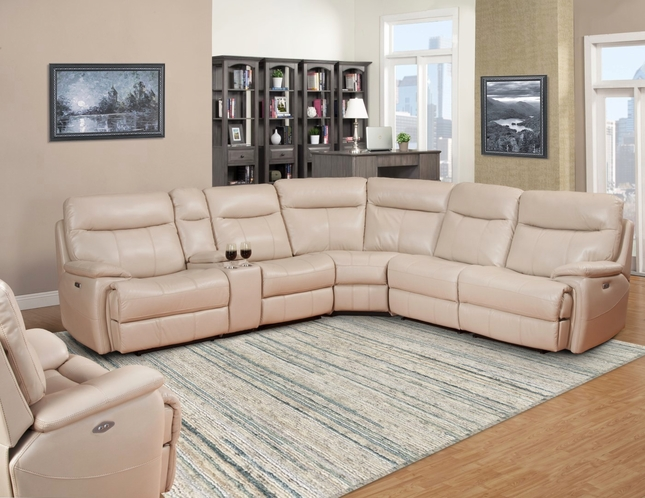 Dylan Creme Modular Transitional Fabric Sectional Sofa w/Reclining Armless Chair