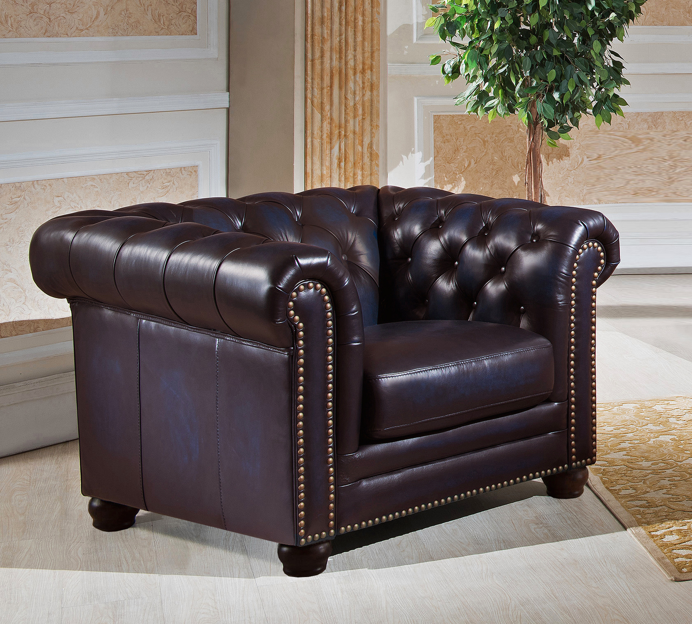 Genuine Leather Sectional Sofa Canada: Dynasty 100% Genuine Leather Chesterfield Sofa & Two