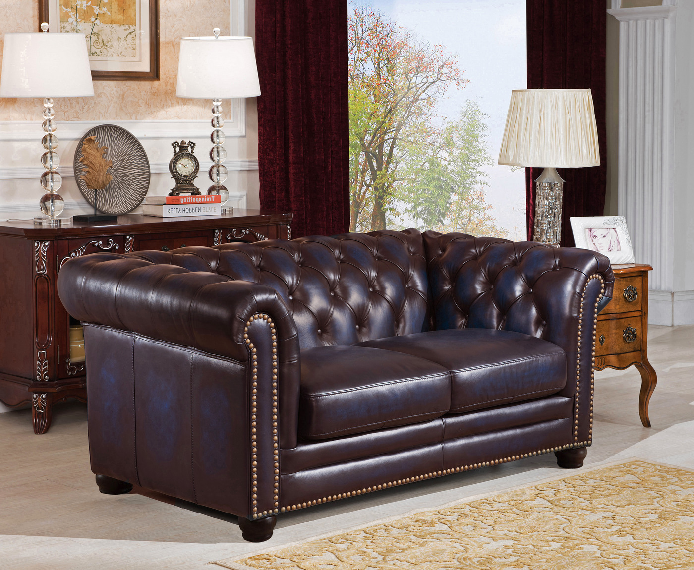 Dynasty 100 Genuine Leather Chesterfield 3 Pc Sofa Set In