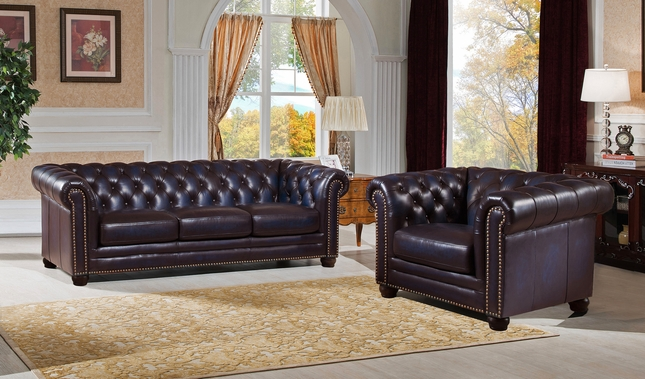 Genuine Leather Chesterfield Sofa Armchair In Navy Blue - Leather chesterfield chairs