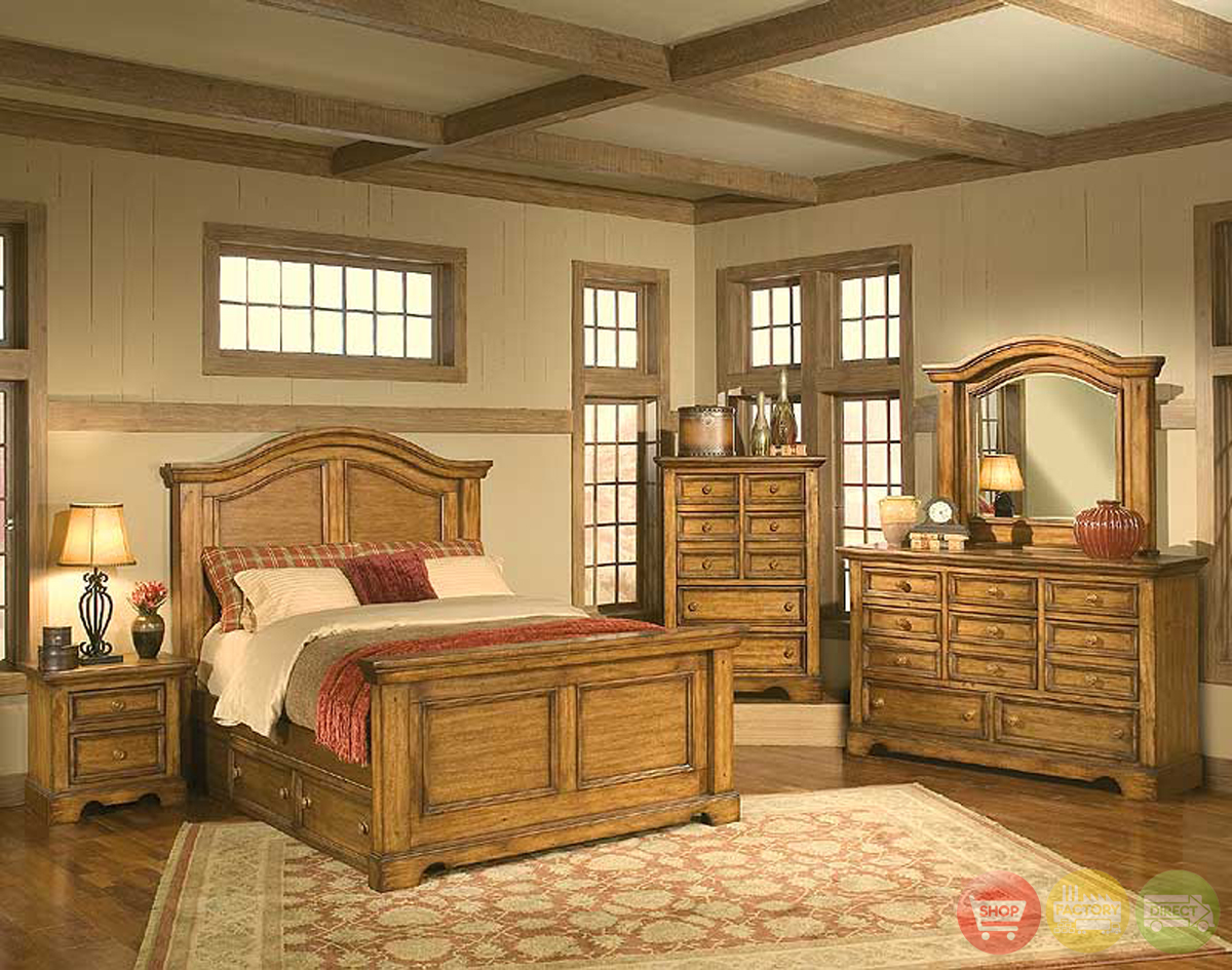 Bedroom furniture sets queen king free shipping shop for Rustic bedroom furniture