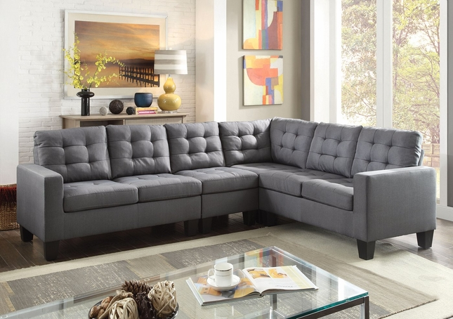 Ealdun Contemporary Button-Tufted Sectional Sofa in Gray Linen