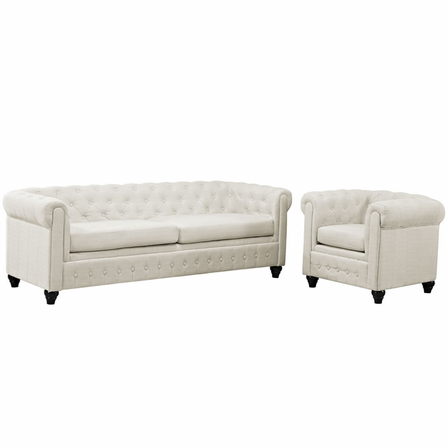 Earl Contemporary 2pc Fabric Upholstered Living Room Set, Beige