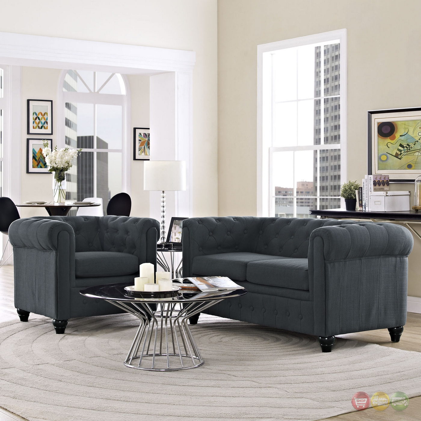 Earl Contemporary 2pc Fabric Upholstered Living Room Set Gray