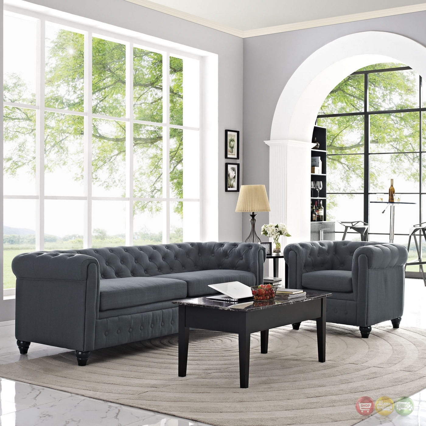 earl contemporary 2pc fabric upholstered living room set gray. Black Bedroom Furniture Sets. Home Design Ideas