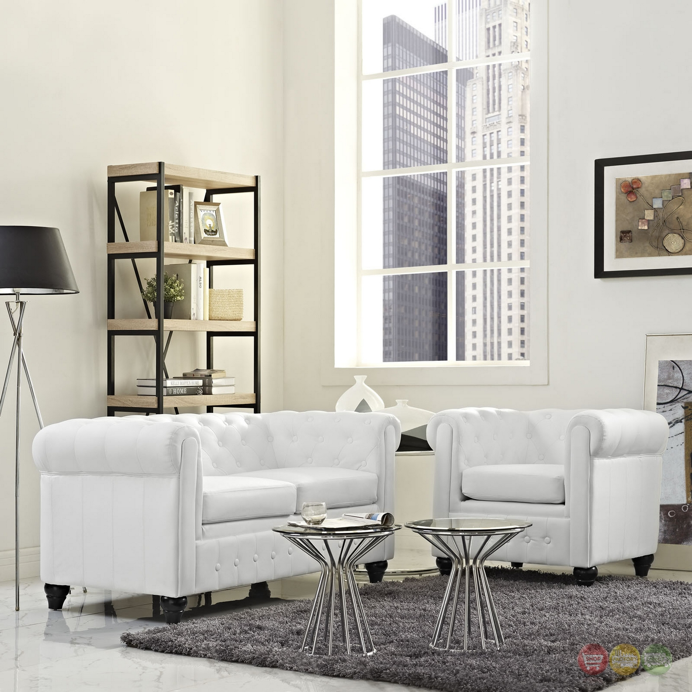 Earl Contemporary 2pc Faux Leather Upholstered Living Room