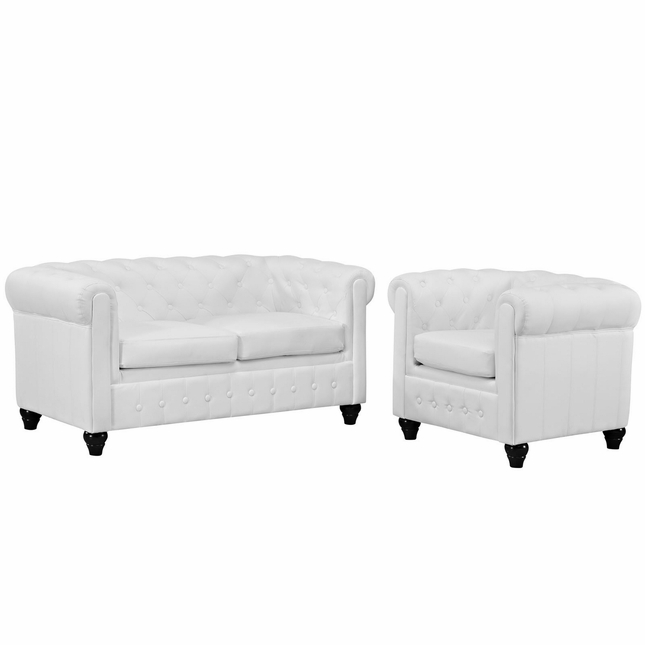 Earl Contemporary 2pc Faux Leather Upholstered Living Room Set, White