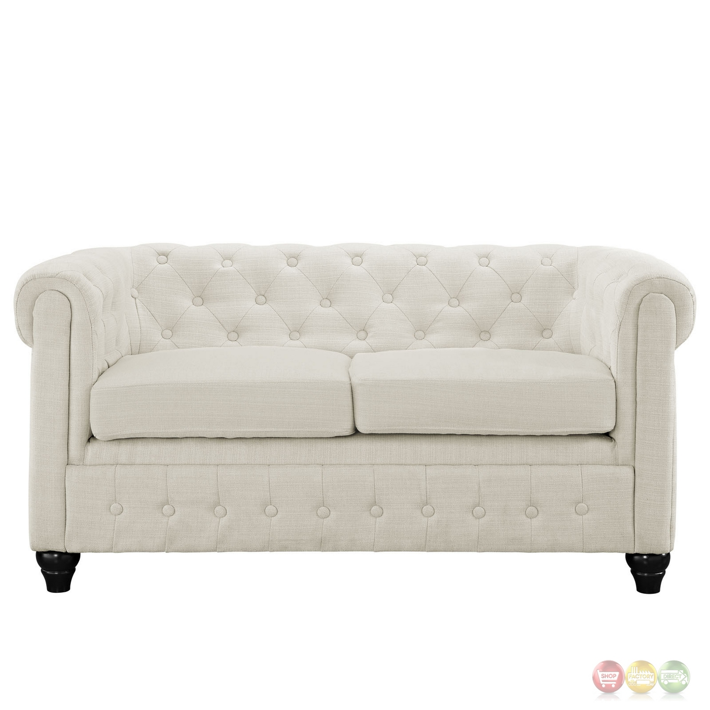 Earl Contemporary Button Tufted Upholstered Loveseat W Wood Feet Beige