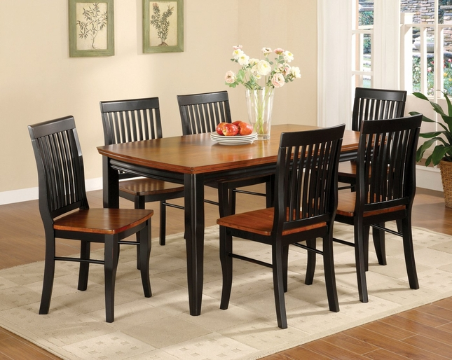 Earlham Mission Antique Black & Oak Casual Dining Set w/Wood seats
