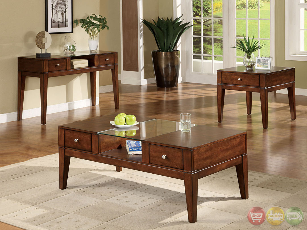 East lake contemporary tobacco oak accent tables with for Occasional table with drawers