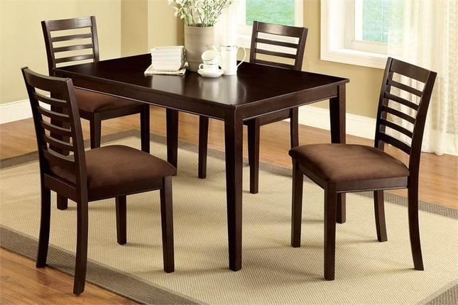 Eaton Contemporary Espresso Casual Dining Table & 4 Chairs Microfiber Seats 5pc Set