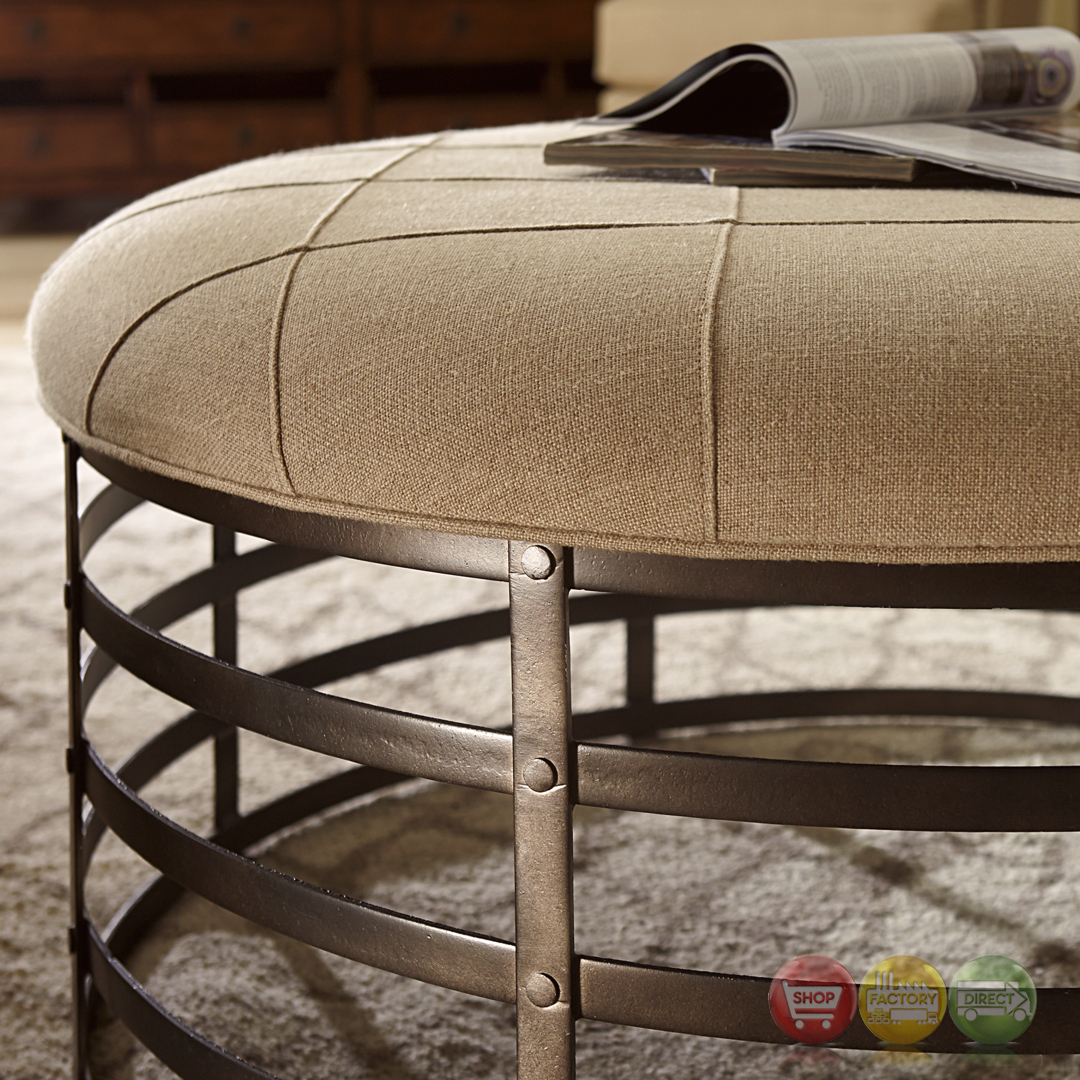 Echo Park Oval Ottoman With Metal Base And Beige