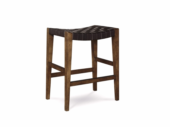 "Echo Park Woven Black Leather 24"" Birch Counter Height Stool"