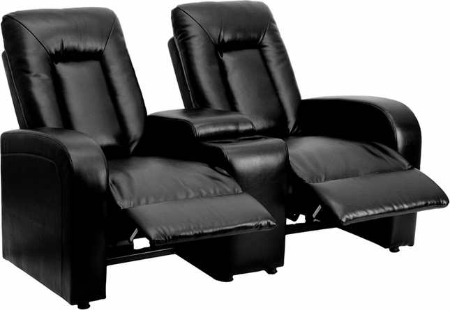 Eclipse 2-seat Reclining Black Leather Theater Seating Unit W/ Cup Holders