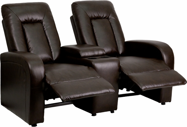 Eclipse 2-seat Reclining Brown Leather Theater Seating Unit W/ Cup Holders