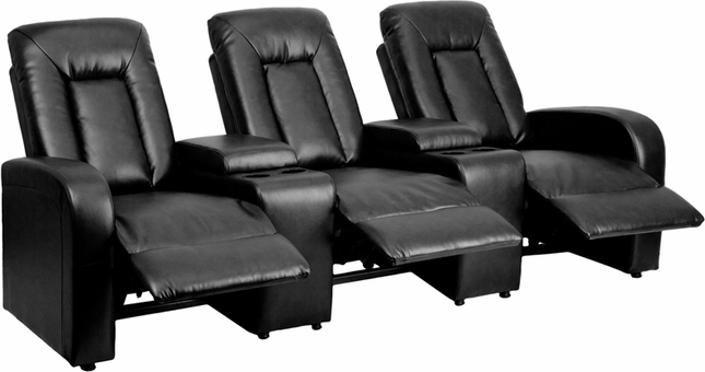 Eclipse 3-seat Reclining Black Leather Theater Seating Unit W/ Cup Holders