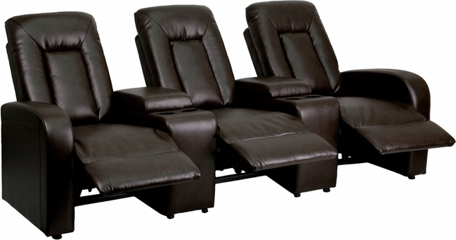 Eclipse 3-seat Reclining Brown Leather Theater Seating Unit W/ Cup Holders