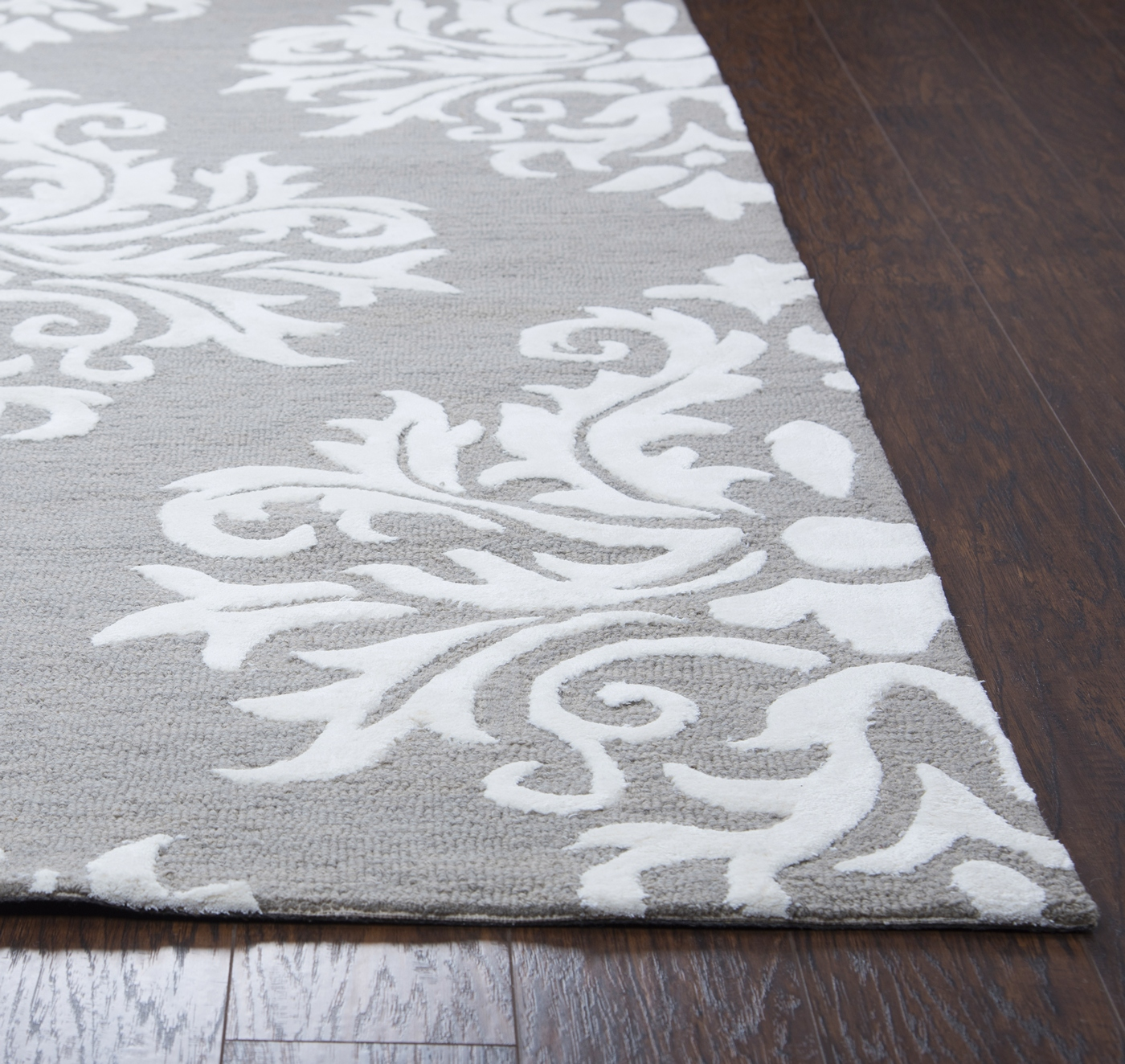 Eden Harbor Classic Damask Wool Runner Rug In Gray Amp White