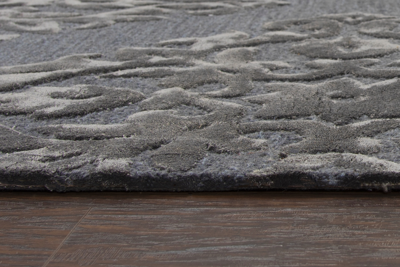 Eden Harbor Embossed Damask Wool Area Rug In Slate