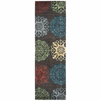 """Rizzy Eden Harbor Wool Runner Area Rug 2'6""""x 8'Grey Blue Yellow Green Red Purple"""