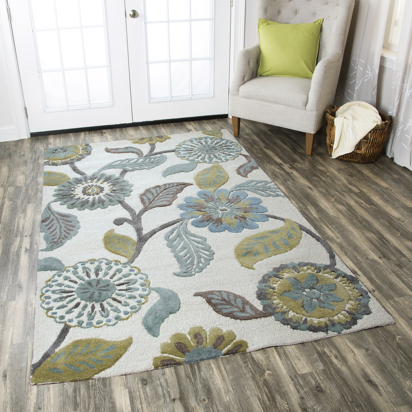 Eden Harbor Vine Flowers Wool Area Rug In Sage Blue Grey