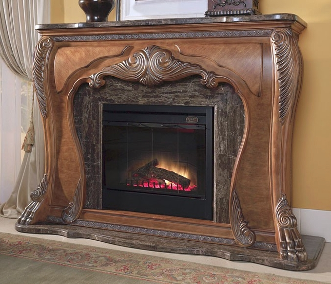 Michael Amini Eden Traditional Fireplace Amp Marble Top W