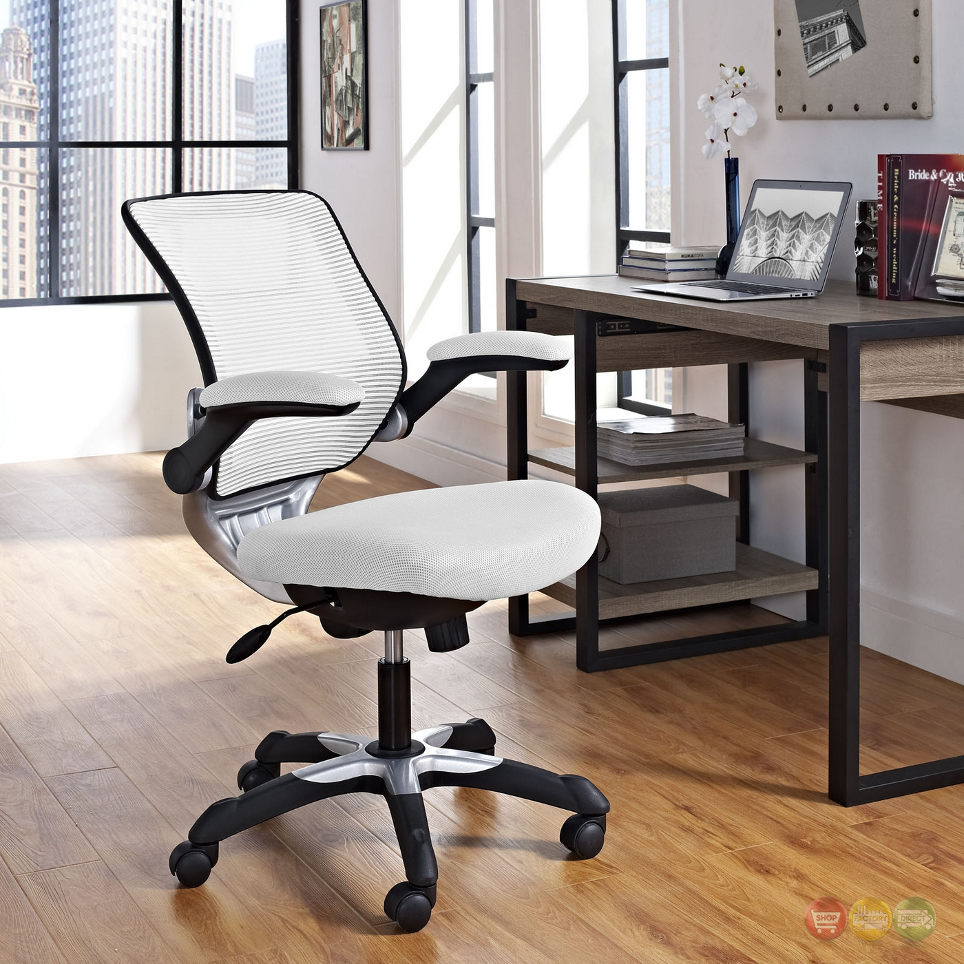 Edge modern adjustable ergonomic mesh office chair white for Modern white office chair