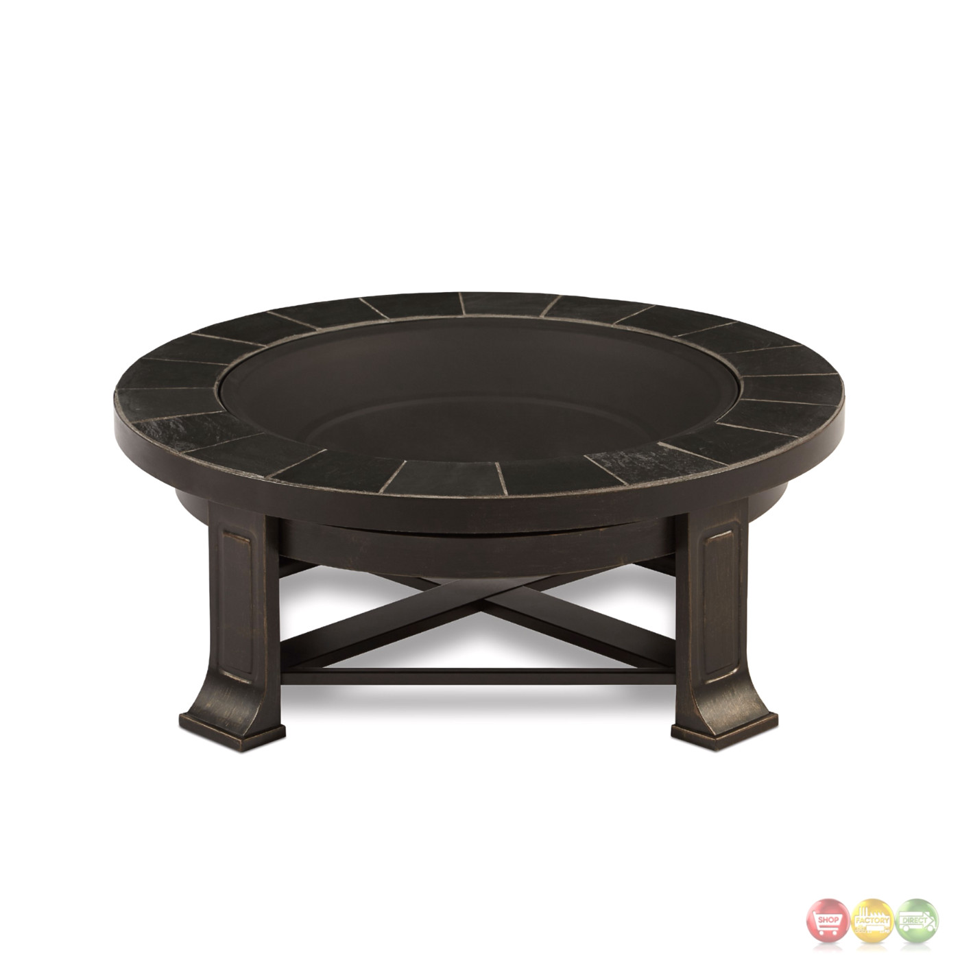 Edwards outdoor wood burning 34 round fire pit with gray tile for How to build a round fire pit