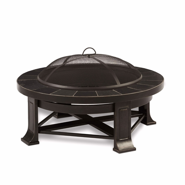 "Edwards Outdoor Wood-Burning 34"" Round Fire Pit With Gray Tile"