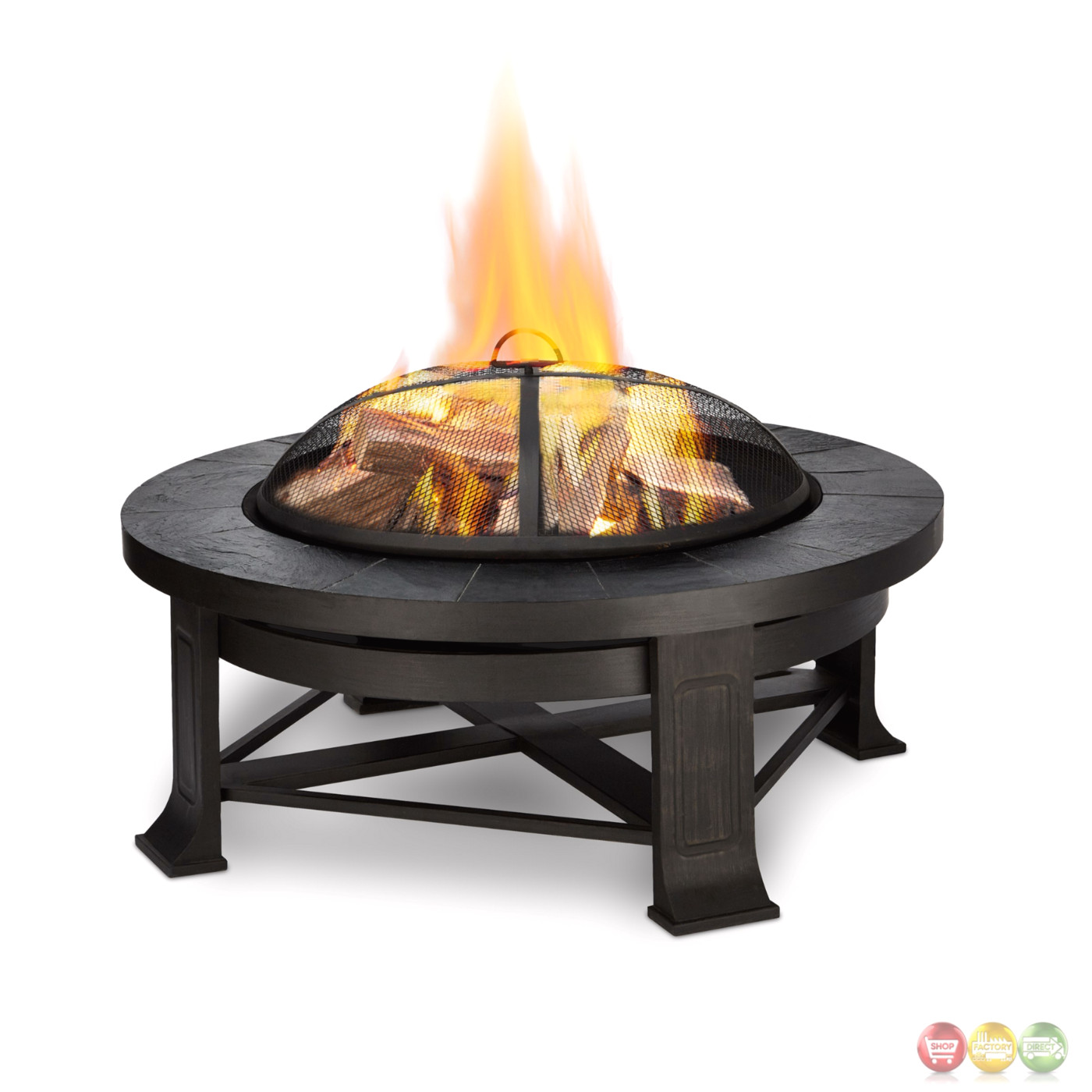 Edwards Outdoor Wood Burning 34 Quot Round Fire Pit With Gray Tile