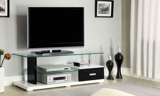 Egaleo Contemporary White and Black TV Console with Full Extension Drawer