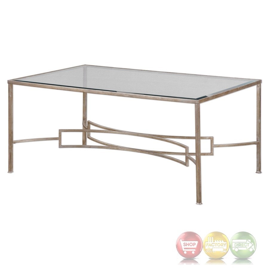 Eilinora Coffee Table With Antique Silver Iron Frame And Tempered Glass Top
