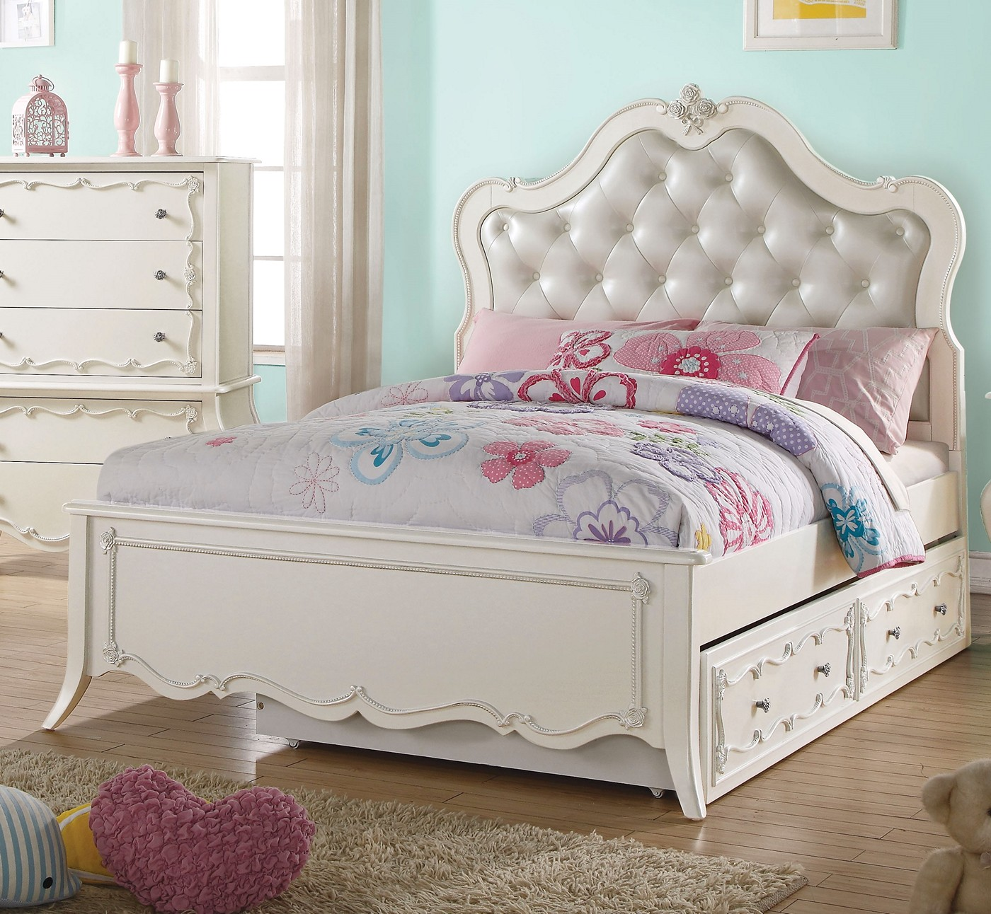 elaine kids traditional 4 pc pearl white upholstered twin. Black Bedroom Furniture Sets. Home Design Ideas