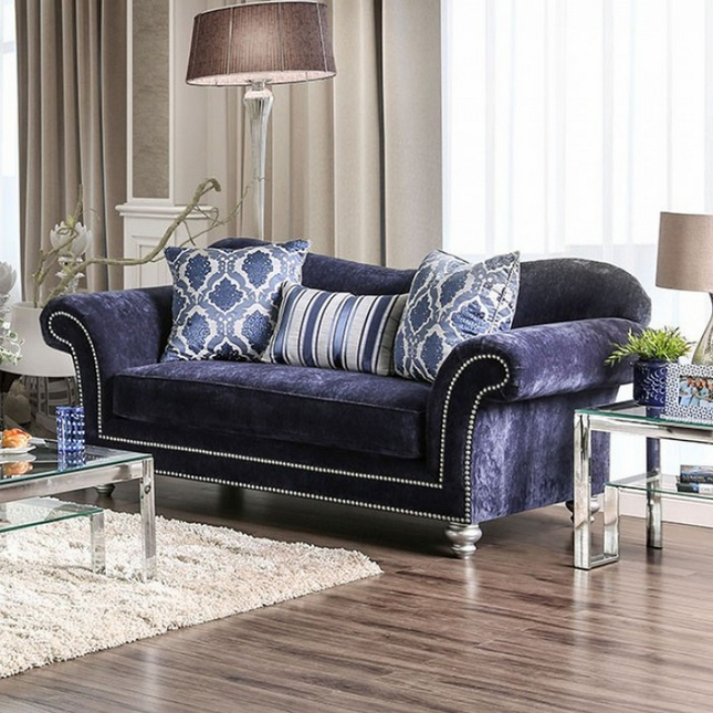 Phenomenal Eleanor Transitional Navy Blue Microfiber Loveseat W Rolled Gmtry Best Dining Table And Chair Ideas Images Gmtryco