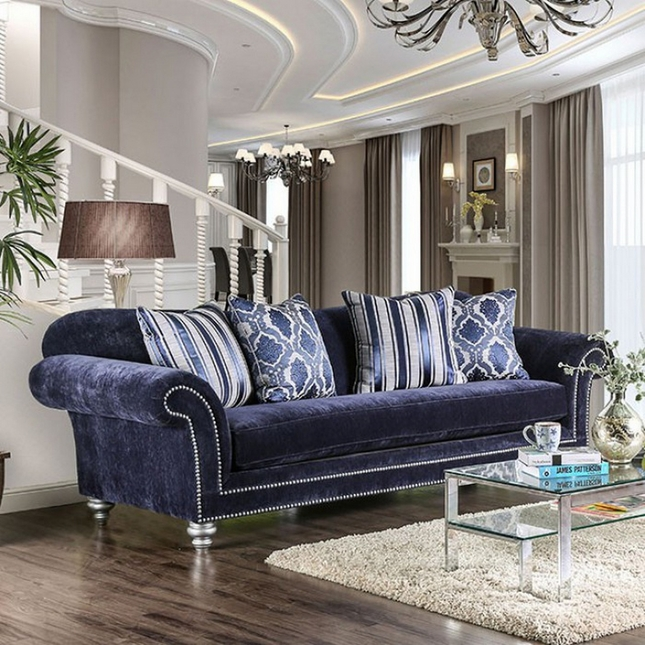 Eleanor Transitional Navy Blue Microfiber Sofa with Rolled Arms ...