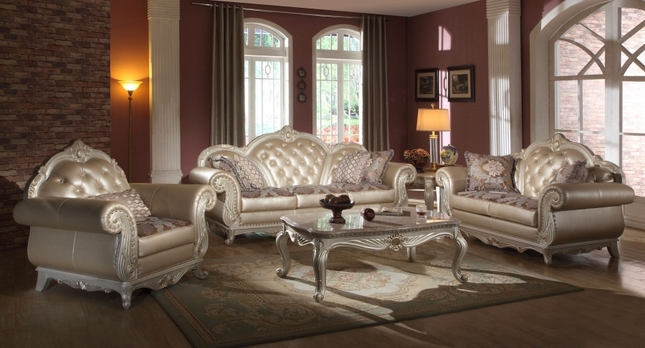 Elegant Metallic Pearl Button Tufted Leather Formal Living Room Sofa Set