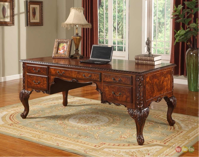 Magnificent Elegant Traditional Cherry Wood Home Office Desk W Cabriole Download Free Architecture Designs Scobabritishbridgeorg