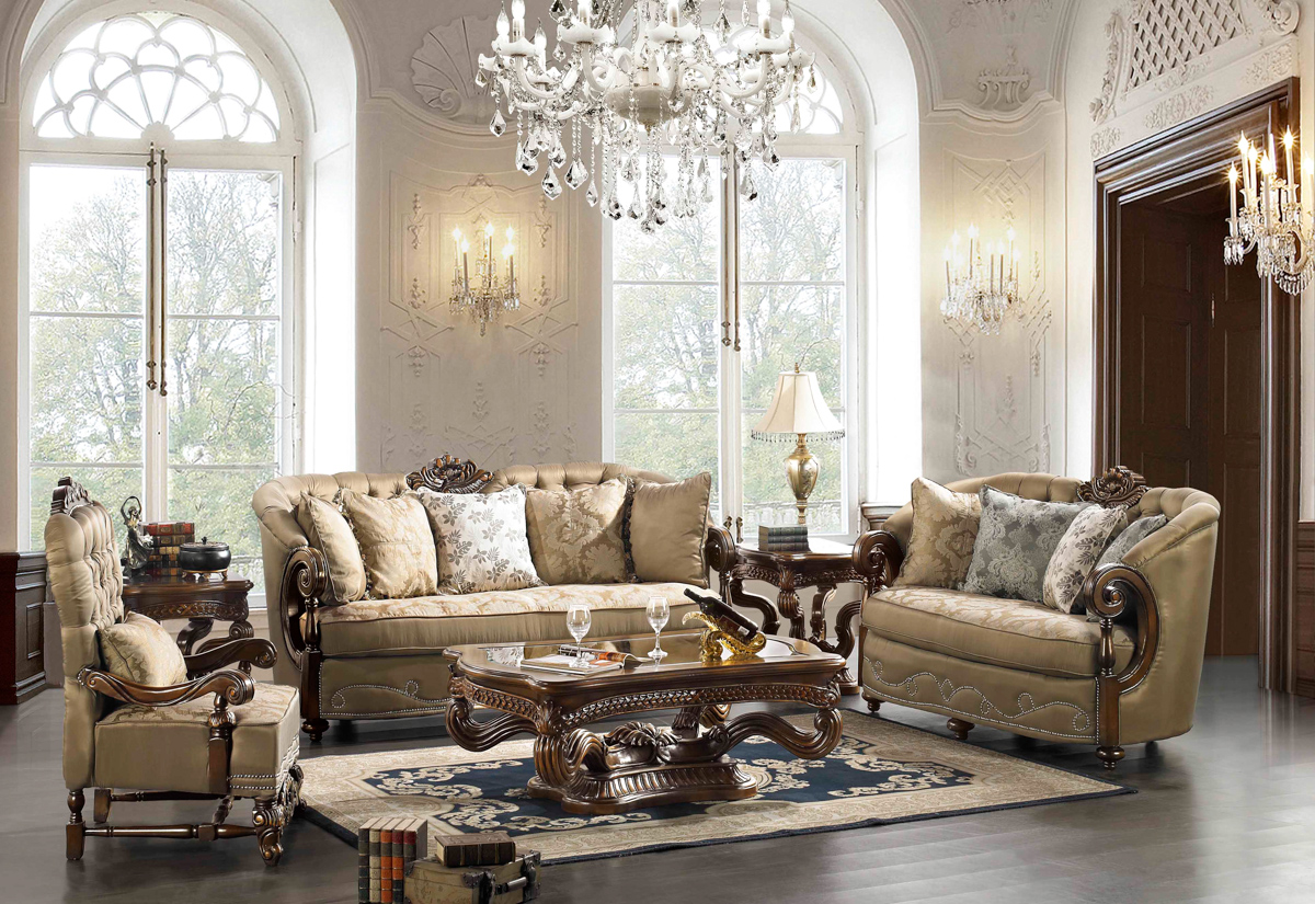 Elegant traditional formal living room furniture for Pictures of traditional furniture