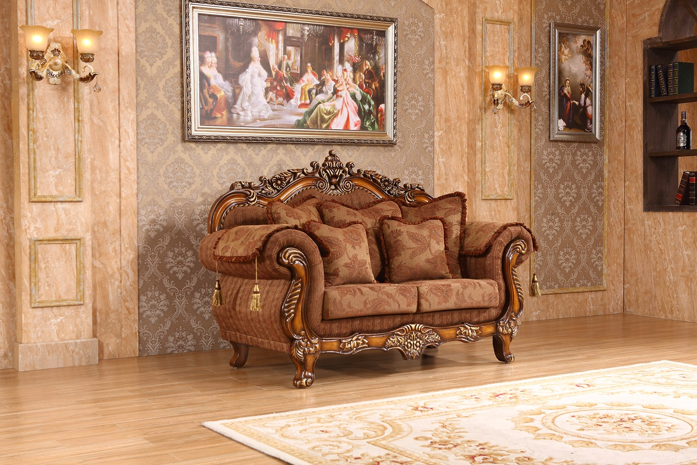 Elianna Victorian Style Brown Fabric Loveseat With Cherry Finished Wood
