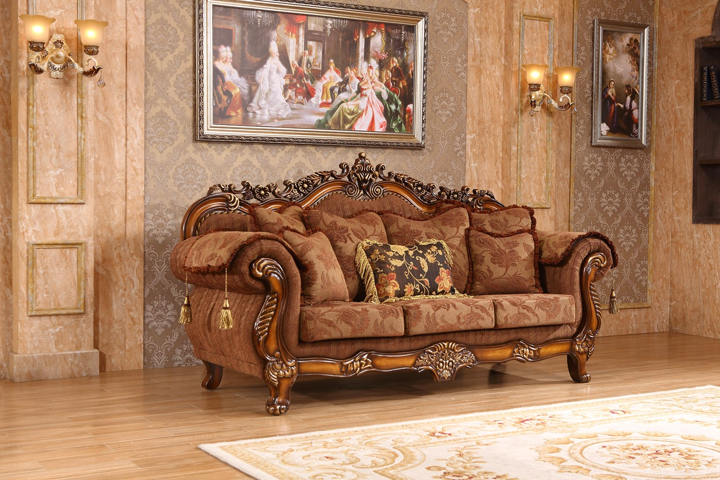 Elianna Victorian Style Brown Fabric Sofa Loveseat W Cherry Finished Wood