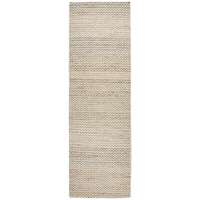 """Home Ellington Soft Wool Runner Area Rug 2'6""""x 8'Natural Off White Chevron/Solid"""