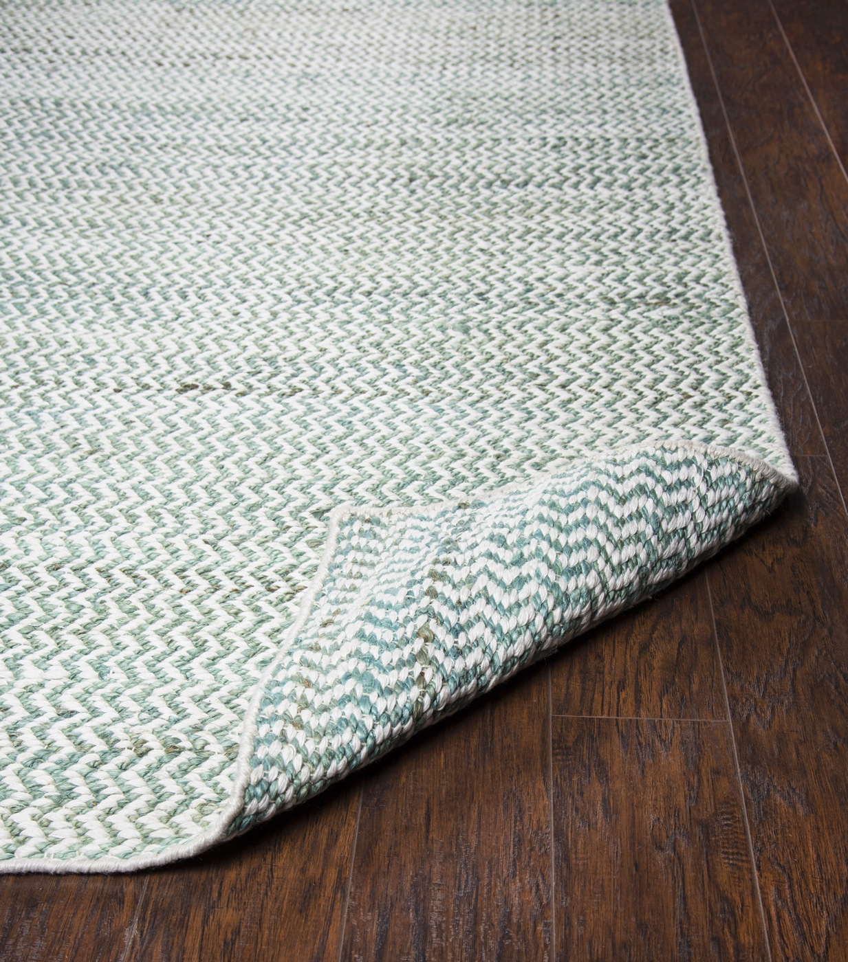 Ellington Zig Zag Pattern Wool Runner Rug In Turquoise