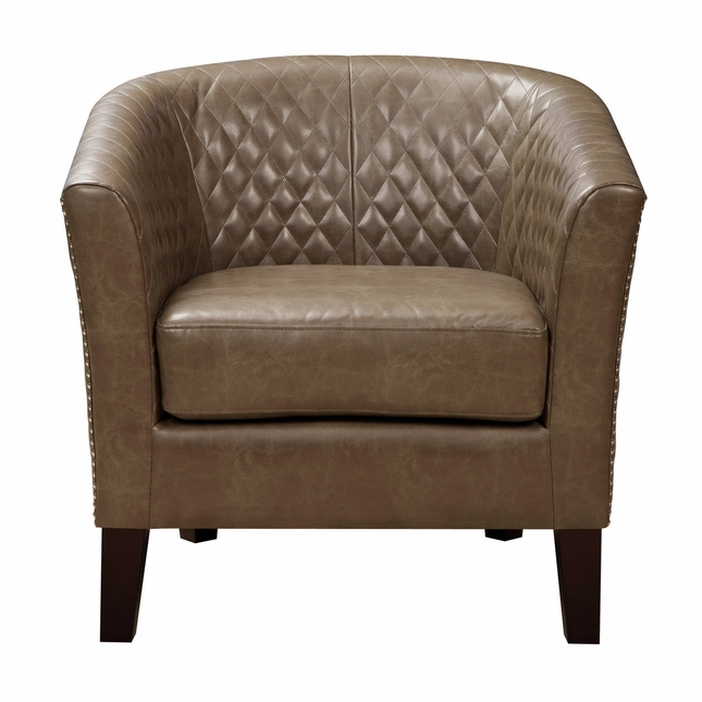 Ellison Brown Faux Leather Barrel Accent Chair With