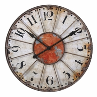 Ellsworth Traditional Crackled Ivory Wall Clock 06664