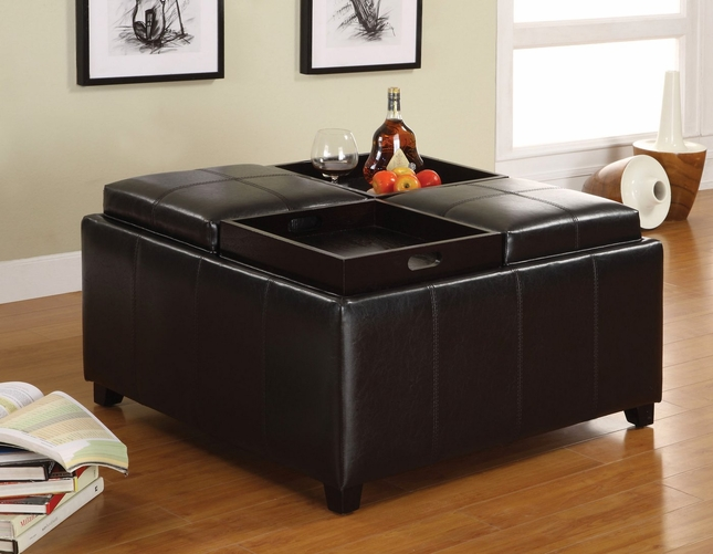 Elvina Espresso Storage Ottoman With 4 Flip Top Trays