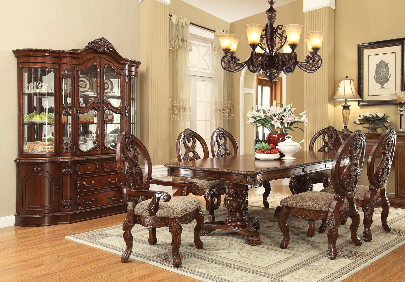 Emiliano traditional 5 pc cherry 80 120 double pedestal for 120 dining table sets