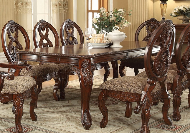 Emiliano Traditional 76 96 Rectangular Leg Dining Table In