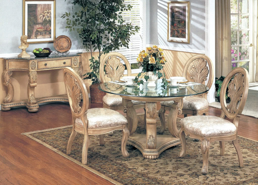 """Round Glass Dining Table 48 Inches: Emily Antique White 5pc Formal Dining Set Round 48"""" Glass"""